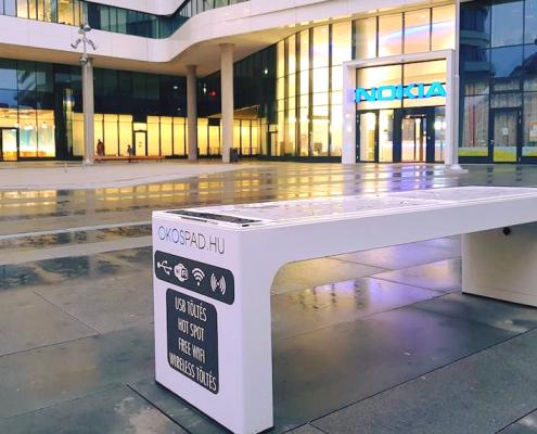 Steora smart bench Nokia Budapest - Hungary Intelligente Parkbank