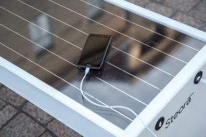Steora smart bench Solarpanel.